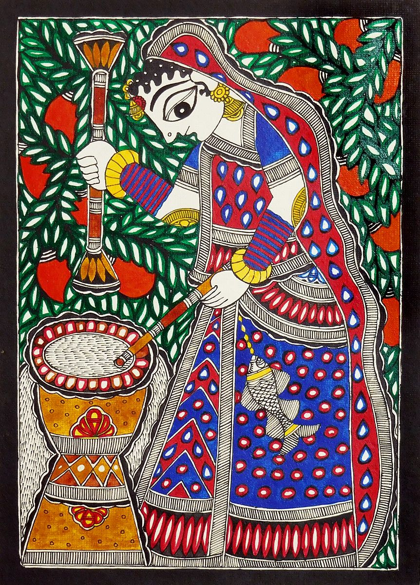 Village Woman Madhubani Indian Paintings