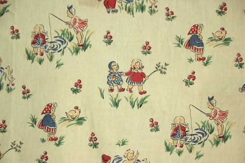 Wonderful Vintage French nursery fabric ~ Ideal for vintage baby's room in classic French style ~ 1930's ~ www.textiletrunk.com