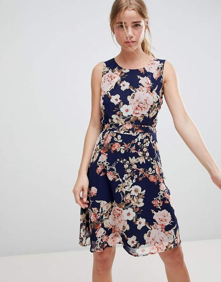 38c8825c68d QED London Floral Print Skater Dress