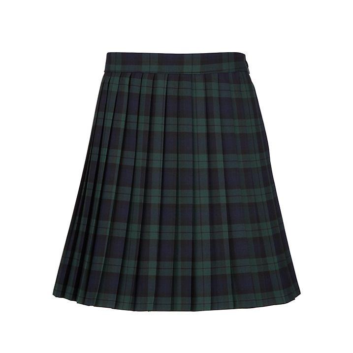 04b860e4ed Girls' Pleated Tartan School Skirt, Green/Navy | Pro & Con ~ School ...