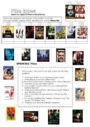 English worksheet: Films: types of films, speaking exercise + ...