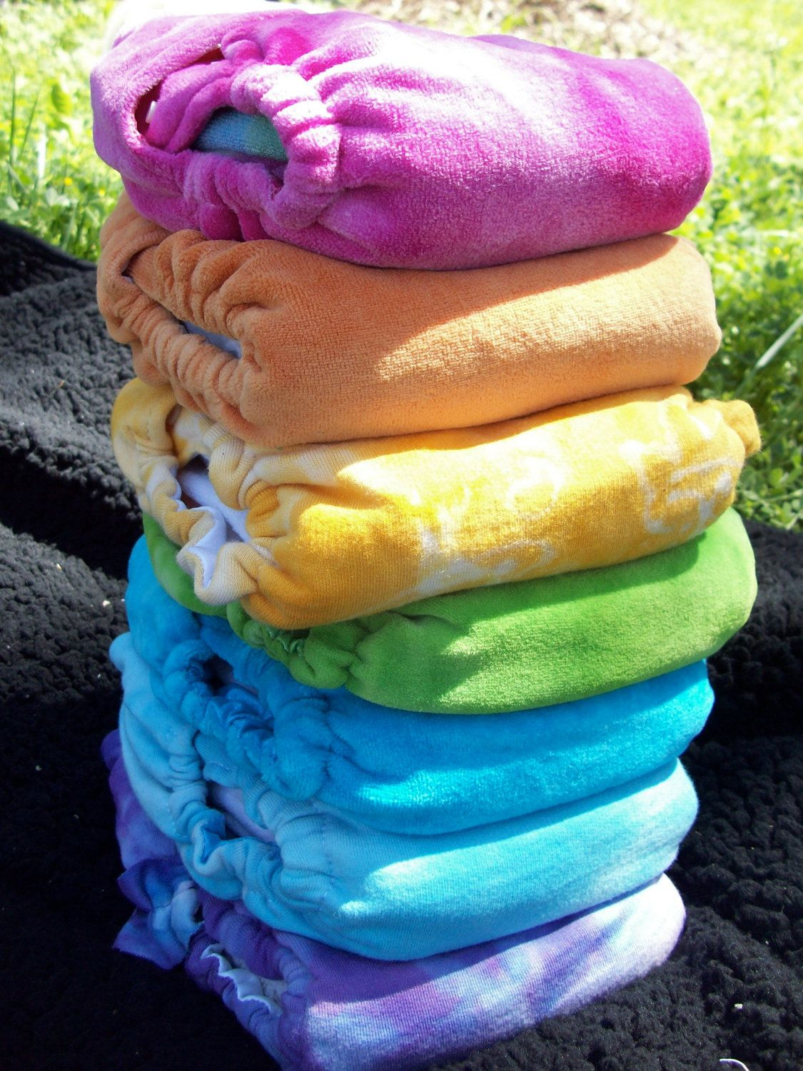 pack hand dyed organic bamboo velour diaper covers via