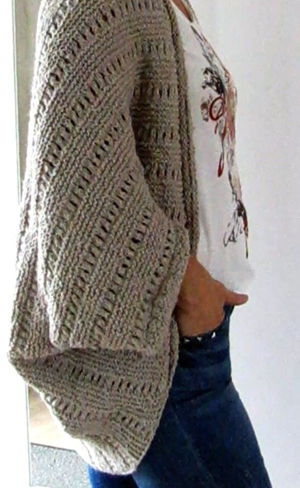 Cardigan As Square For Beginners Size All Oversize Knitting