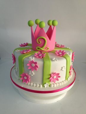 Princess crown cake with fondant flowers Princess crown cake