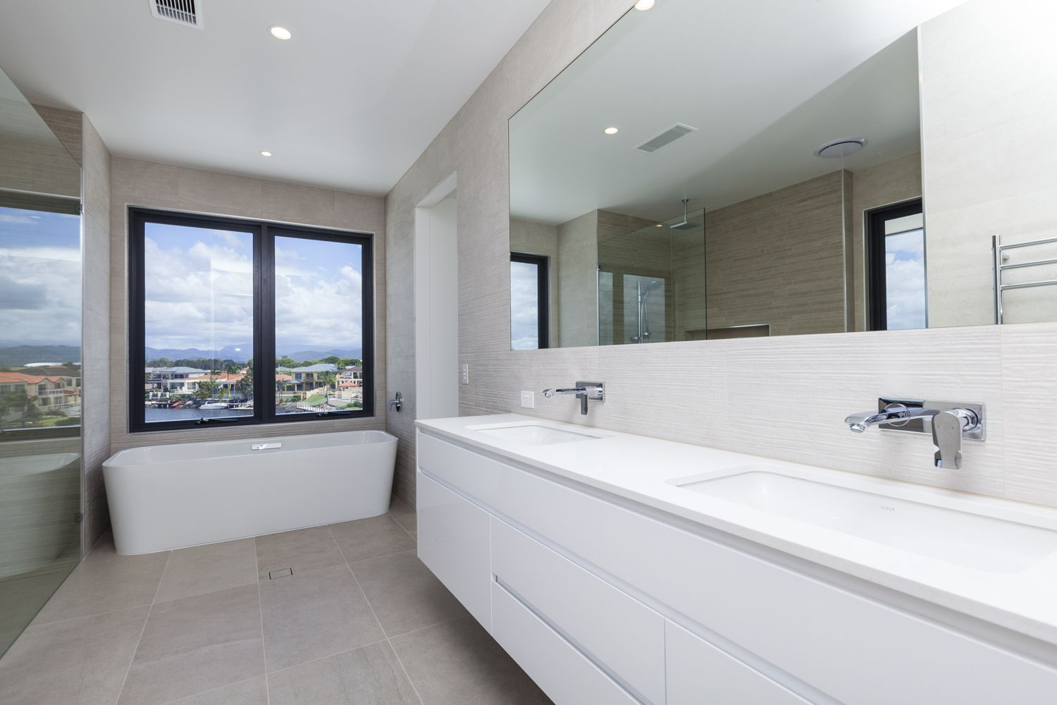 Sanctuary 28 Homes Bathroom Using Sandstone Look Tiles With Same