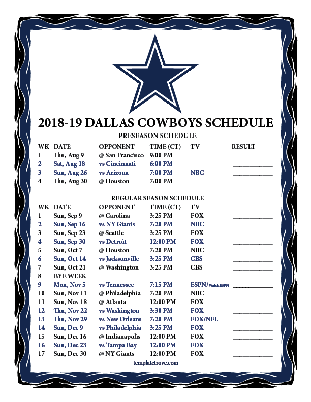 Dallas Cowboys Schedule 2019 Printable 2018 2019 Dallas Cowboys Schedule | Dallas Cowboy 18/19