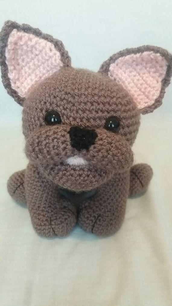 Crochet Dark Brown French Bulldog Soft Toy French Bulldog French