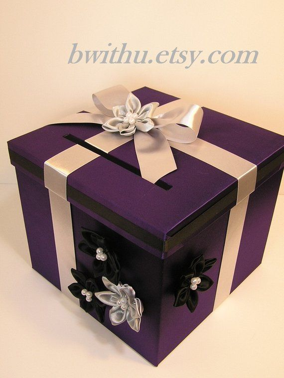 Wedding Card Box Purple And Silver Black Gift Card Box Money
