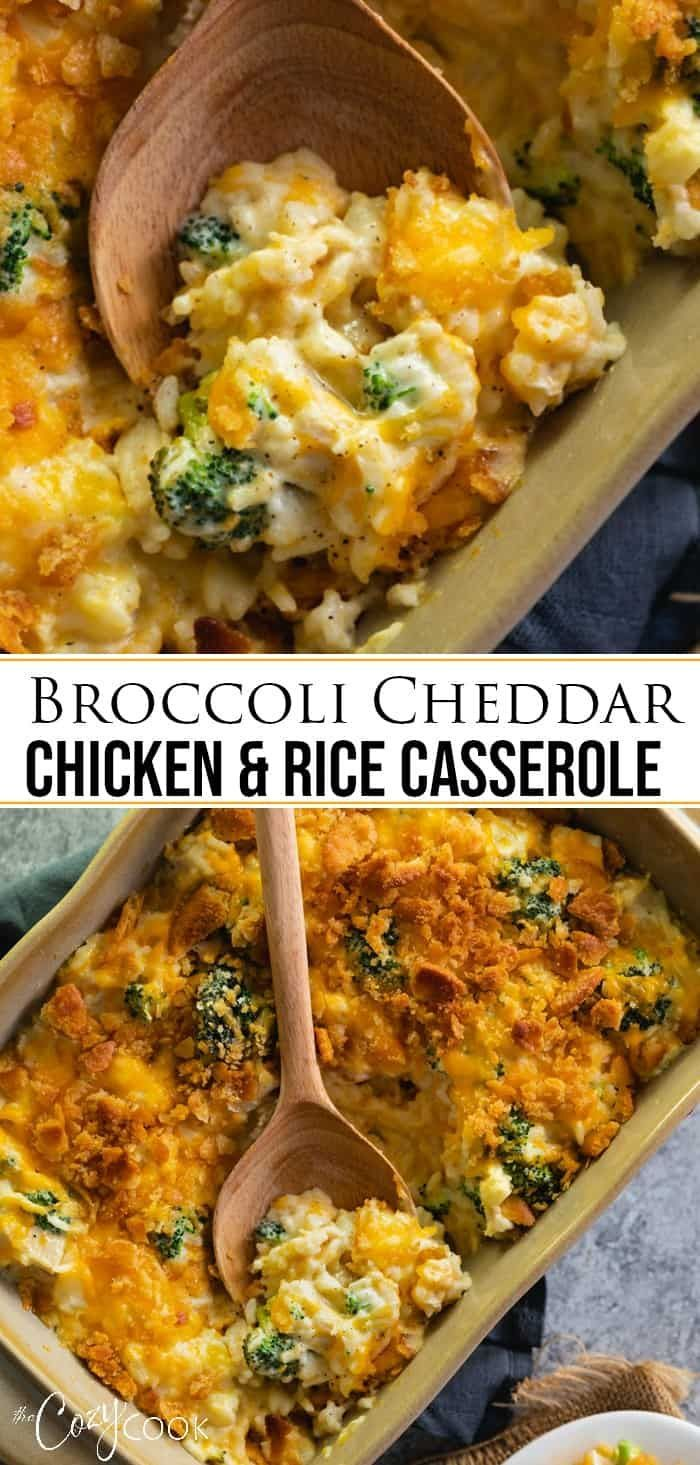 This easy Broccoli Cheddar Chicken and Rice Casserole recipe can be prepared up to 3 days ahead of time and baked when you need to make a quick dinner!