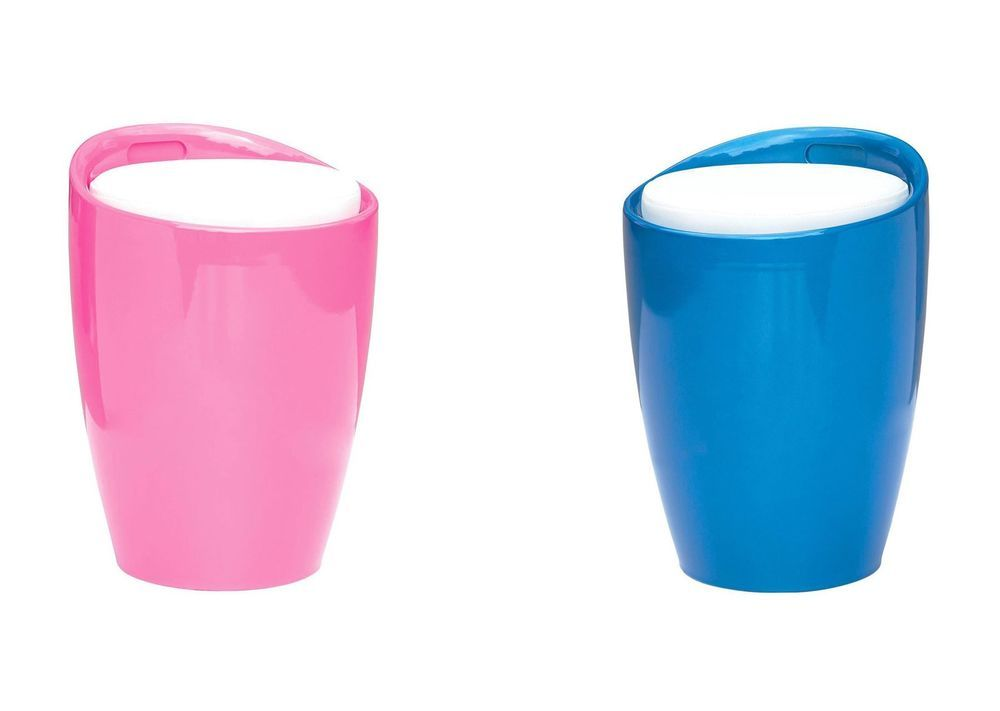 ABS Bongo Shape Pink & Blue Stool with White Leather Effect Cushion