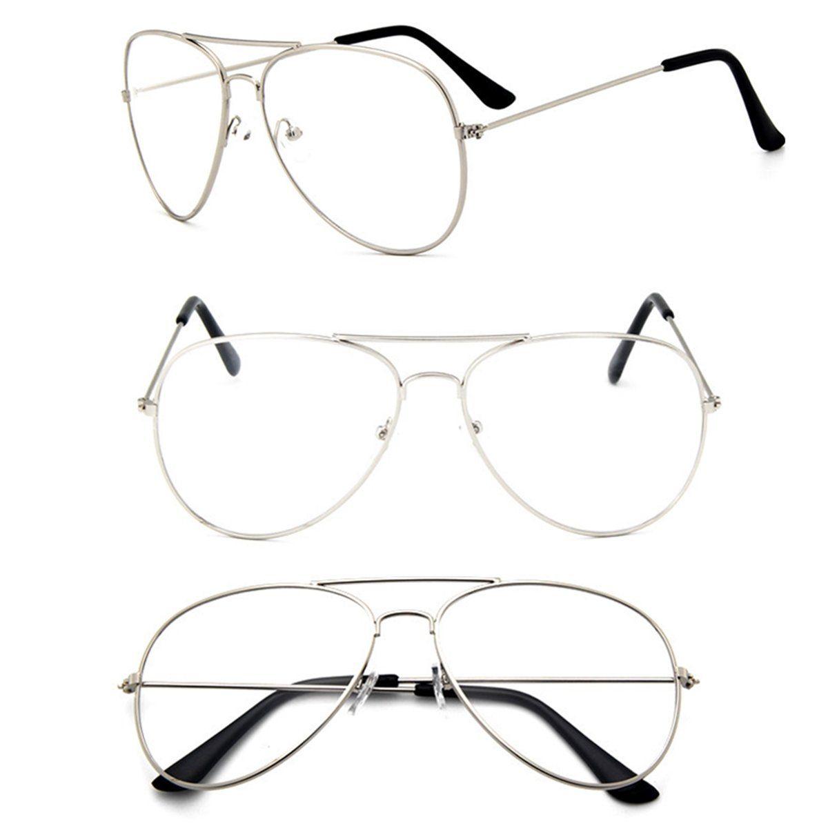 5c8c720244ccf Men Women Aviator Pilot Shape Metal Frame Clear Lens Glasses Specs ...