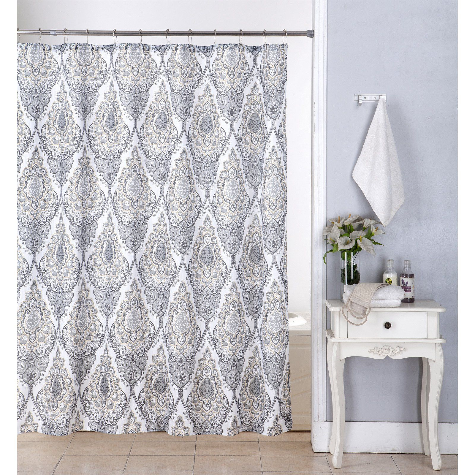 Kashi Home Tara Canvas Shower Curtain With Hooks Vinyl Shower