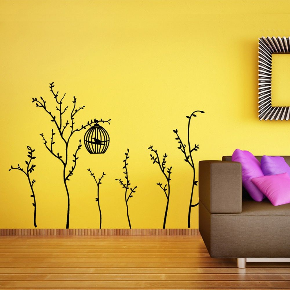 WALL STICKER BLACK #BIRDCAGE - high quality self-adhesive stickers ...