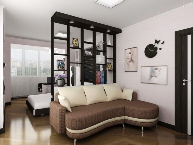 wohnzimmer schlafbereich abgrenzen regal b cher fotos. Black Bedroom Furniture Sets. Home Design Ideas