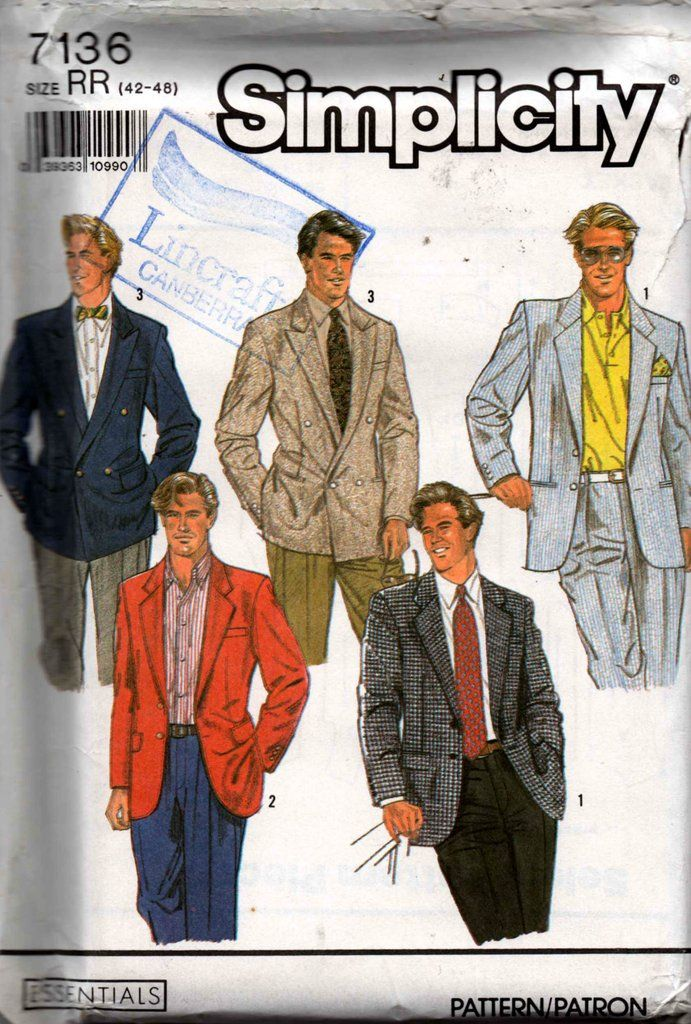 fc3399a6c15cb 90s Mens Blazer Jacket Simplicity 7136 Vintage Sewing Pattern Size Chest 42  - 48 inches UNCUT Factory Folded