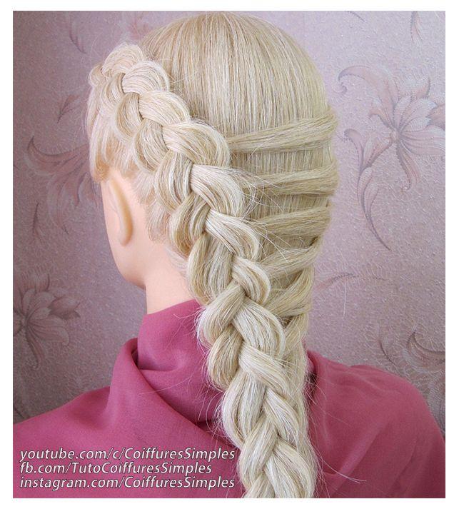 Tuto coiffure simple (Tresse française inversée) 🔹 facile à faire 🔹 cheveux longs/mi longs in ...