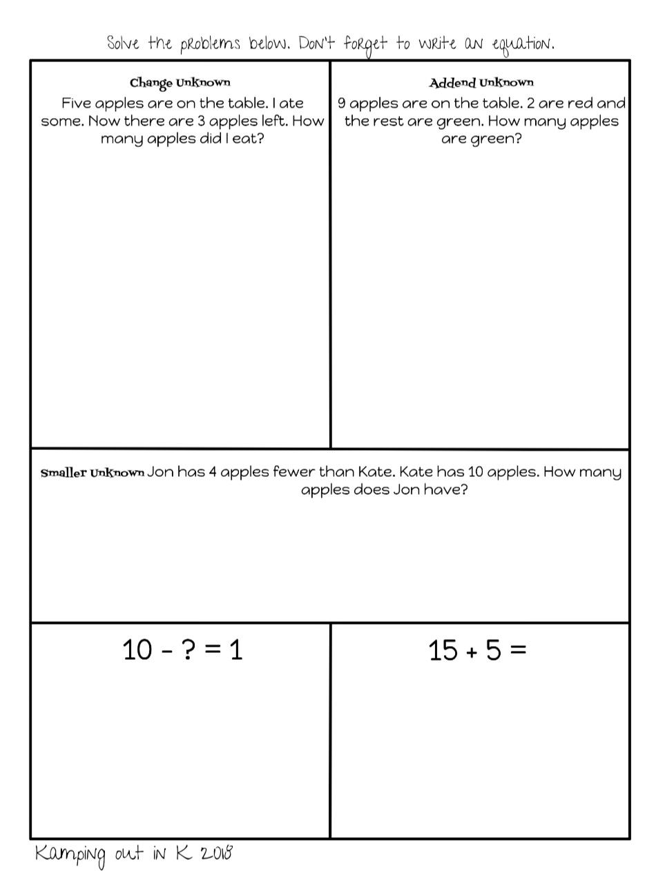 Change Unknown Addend Unknown Smaller Difference Unknown 1st Grade Math Problems Common Core Al Word Problems Context Clues Passages 1st Grade Math Problems [ 1262 x 934 Pixel ]