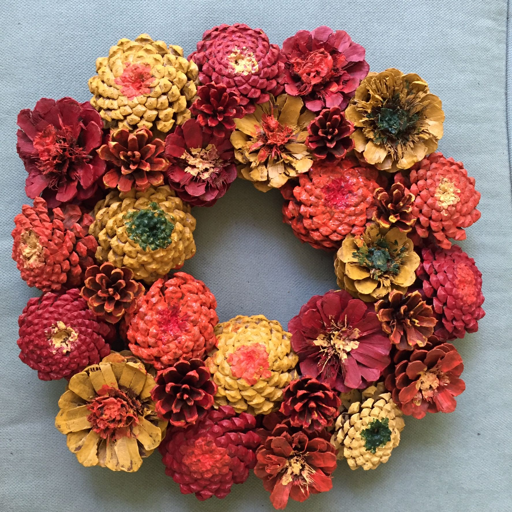 Fall Zinnia Pinecone Wreath