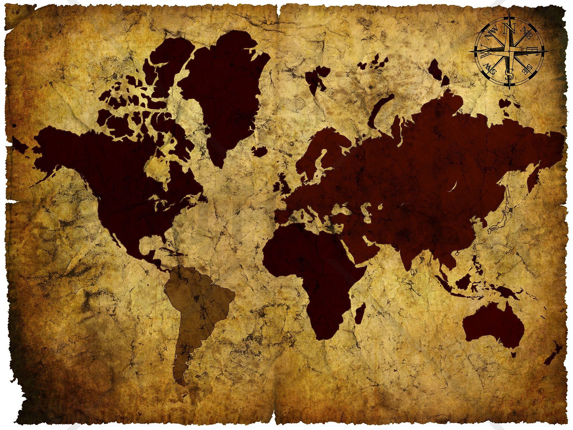 Old Manuscript of World Map - Tapetit / tapetti - Photowall