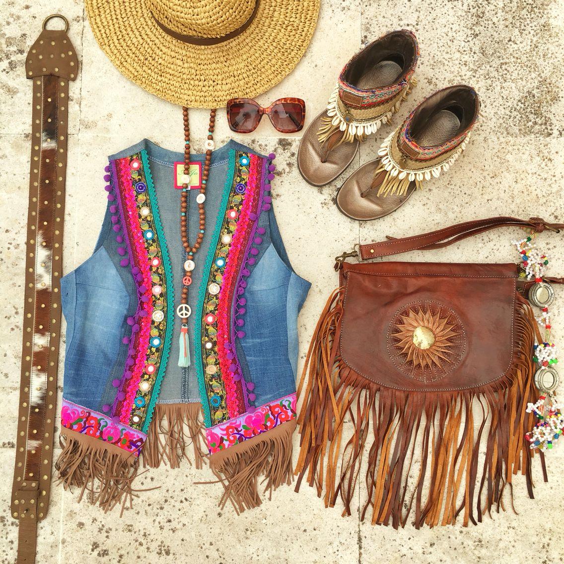 Ibiza style #bohofashion #hippiechic | Boho | Colete jeans ...