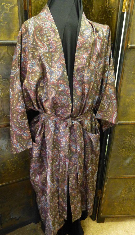 Vintage Bill Blass Silk Robe Paisley Print Loungewear