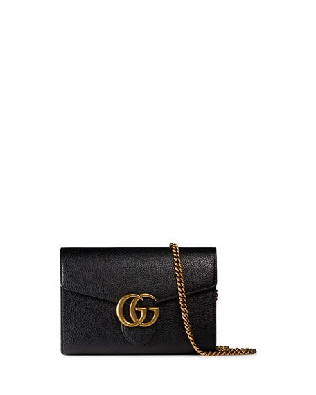 ad97b0794318ee Interlocking GG Marmont Leather Wallet-on-Chain, Black | Bags in ...