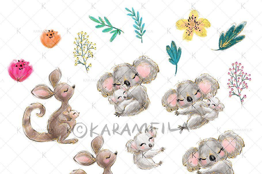Koala Kangaroo Clipart Clip Art Graphic Illustration Illustration Sketches