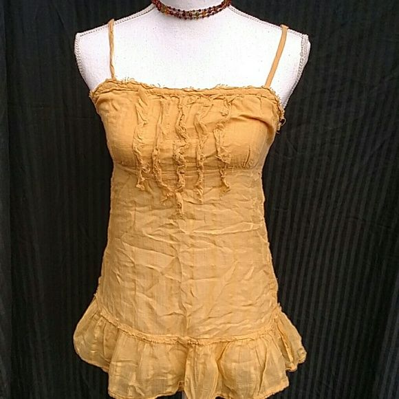 Sassy yellow tank Sassy and girly little ruffle tank in yellow. Preloved with lots of life left. Made by Dolled Up by F.A.N.G. fang Tops Tank Tops