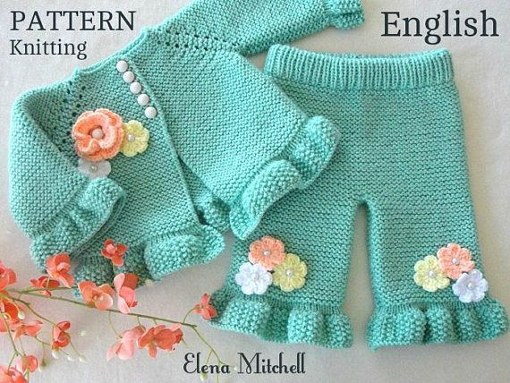 Photo of Knitting PATTERN Baby Cardigan Baby Pants Baby Girl Outfit Pattern Baby Jacket Garter Stitch …