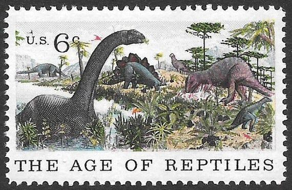 TEN 6c Dinosaurs Stamps .. Vintage Unused US Postage Stamp .. Raptors | Natural History | Reptiles | #historyofdinosaurs