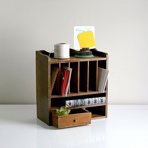 Wise Le Vintage Wood Cubby Desk Organizer At Off