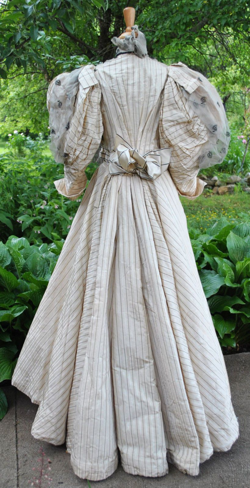 Antique Dress 1893 2 Pc Walking Suit Satin Puffed Sleeves Museum De Accessioned Ebay History Women Fashion Vintage Dresses 1890s Day Dress [ 1600 x 820 Pixel ]