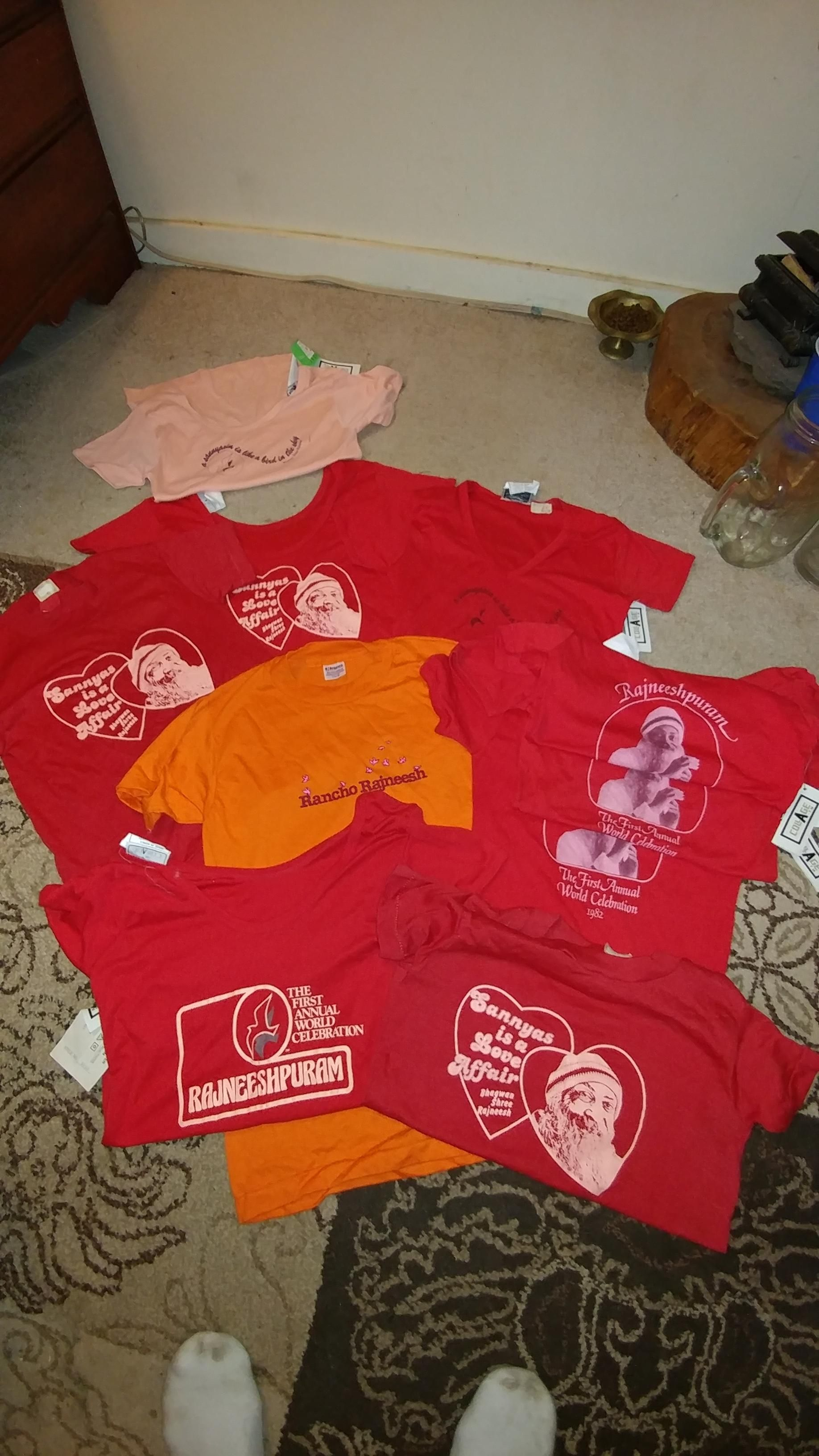 rancho rajneesh anybody? some old ass shirts from a weird ass oregon