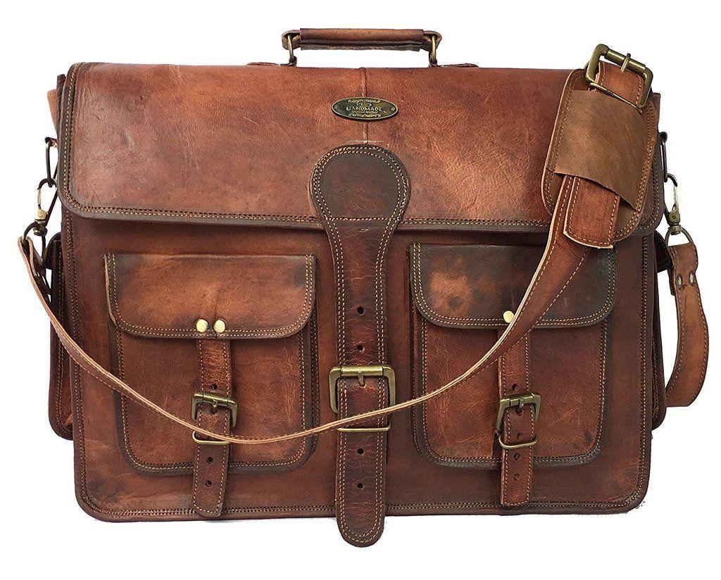 Vintage Handmade Goat Leather Messenger Laptop Satchel Distress Bag 18 Inch 80fcba3d45575