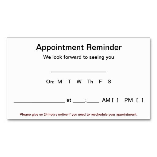 business card appointment template  Appointment Reminder Cards (100 pack-White) | Business cards and ...
