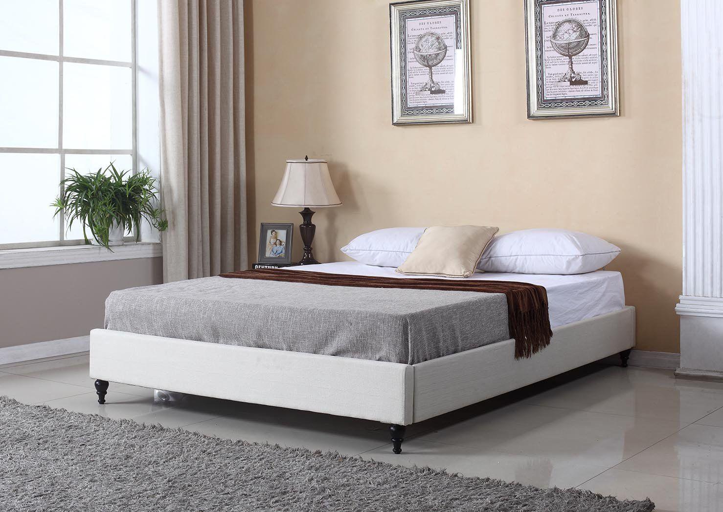 HomeLife® Light Beige NonHeadboard Platform Bed