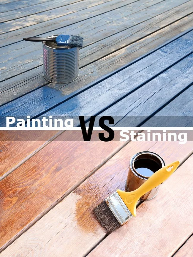 What S The Difference Painting Vs Staining The Deck Staining Deck Deck Paint Deck Design
