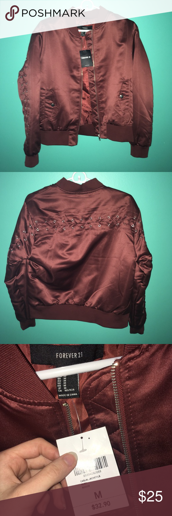 Forever21 Maroon Satin Lace Zip Up Bomber Jacket Satin