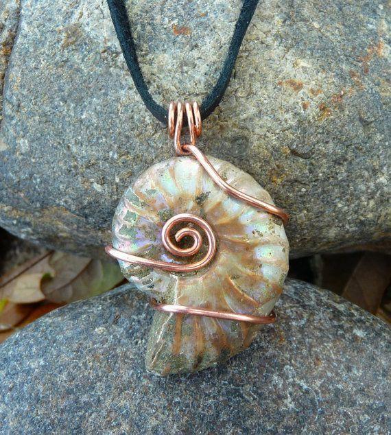 Dieser Anhänger besteht aus einer beinharten versteinerten Ammoniten ...