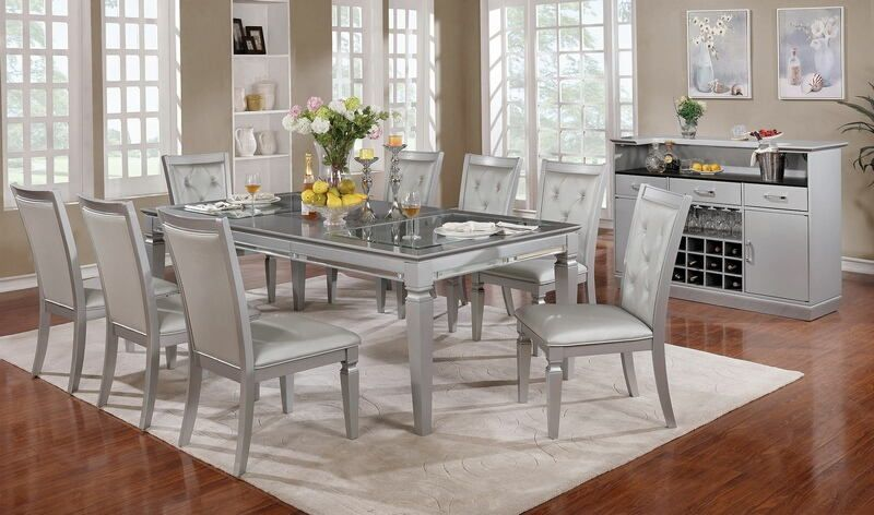 7 pc Alena collection silver finish wood dining table set glass and ...