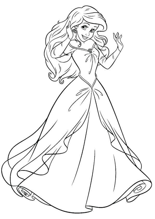 Print coloring image - MomJunction Ariel coloring pages