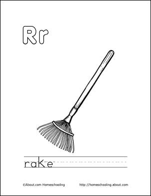 Letter q coloring book free printable pages coloring for Rake coloring page