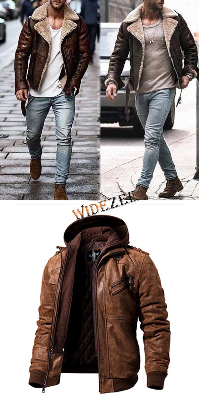 Fashion Lapel Long Sleeve Men Jackets Leather jacket men