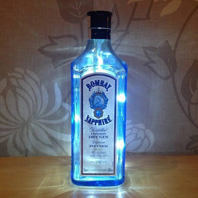 Upcycled Bombay Sapphire Bottle Lamp In 2019 Lamps