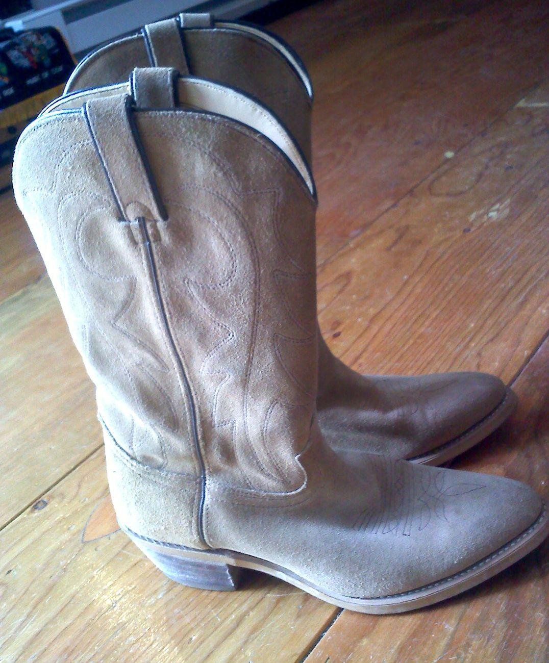 Durango Suede Tan Vintage Mens Cowboy Boots Sz 9D   $60.00