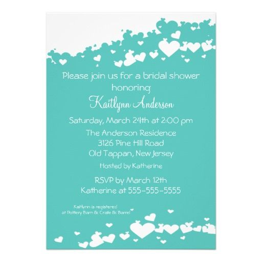 Turquoise Field Of Hearts Bridal Shower Invitation