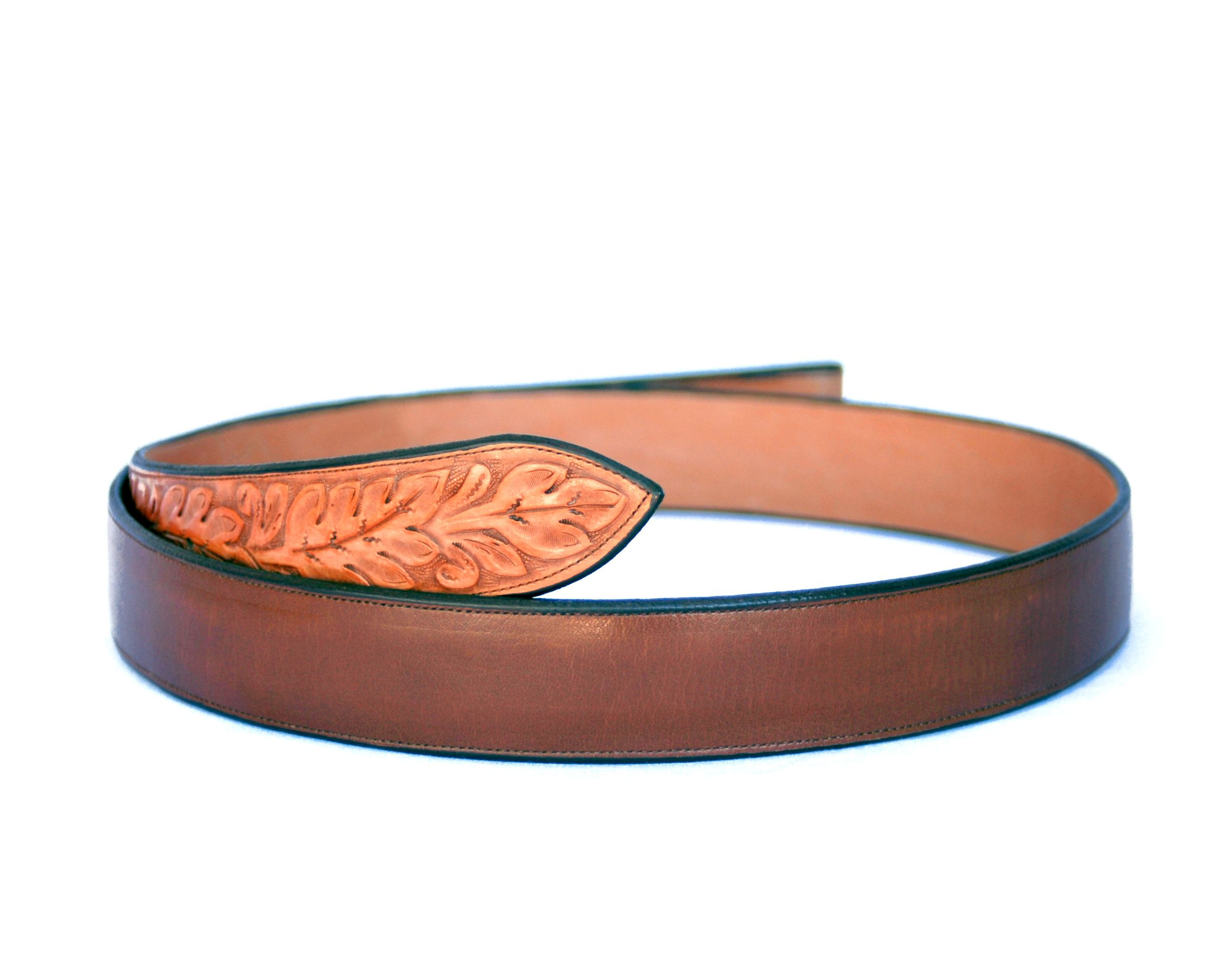 Handmade Western Belt Brown Leather with Tooled Ends at luckystargallery.com ~ $165