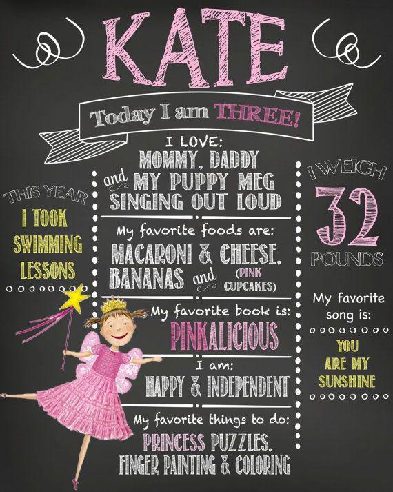 3rd Birthday Pinkalicious Chalkboard Print High by MyThreeCharms – Pinkalicious Party Invitations