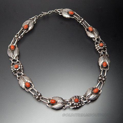 Antique Georg Jensen Denmark 830 Silver Coral Floral Toggle Choker Necklace Design Vintage Silver Jewelry Georg Jensen Jewelry Art Nouveau Jewelry