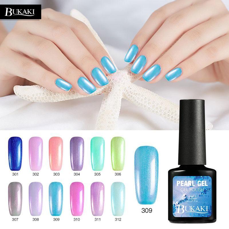 2c3f4c2da9c BUKAKI Pearl Nail Polish Nail Art Shell Hybrid Varnishes French Manicure  Color Gel Polish UV Led